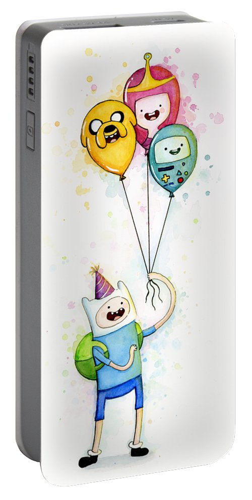 Jake Portable Battery Charger Featuring The Painting Adventure Time Finn With Birthday Balloons Jake Princess Bubblegum